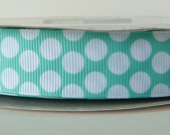 Mint 22mm Polka Dot Grosgrain Ribbon