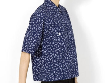 Diane Von Furstenberg Anchor Print Cotton Button Up - M
