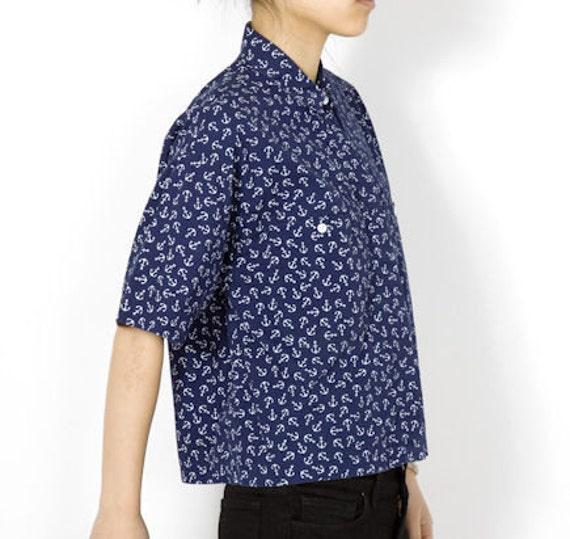 Diane Von Furstenberg Anchor Print Cotton Button Up - M