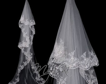 Clearance 50% off! Single Layer Lace Trim Cathedral Length Veil white