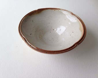 Small Altered Stoneware Bowl, Shino Glaze