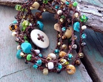 Bead Wrap Bracelet, Hand Crochet, Seaside