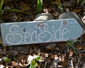Shabby chic beach cottage distressed reclaimed eco friendly sea side sign