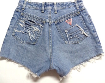 RESERVED for SARAH........28 inch waist........GUESS High Waisted Vtg 80's Denim Shorts