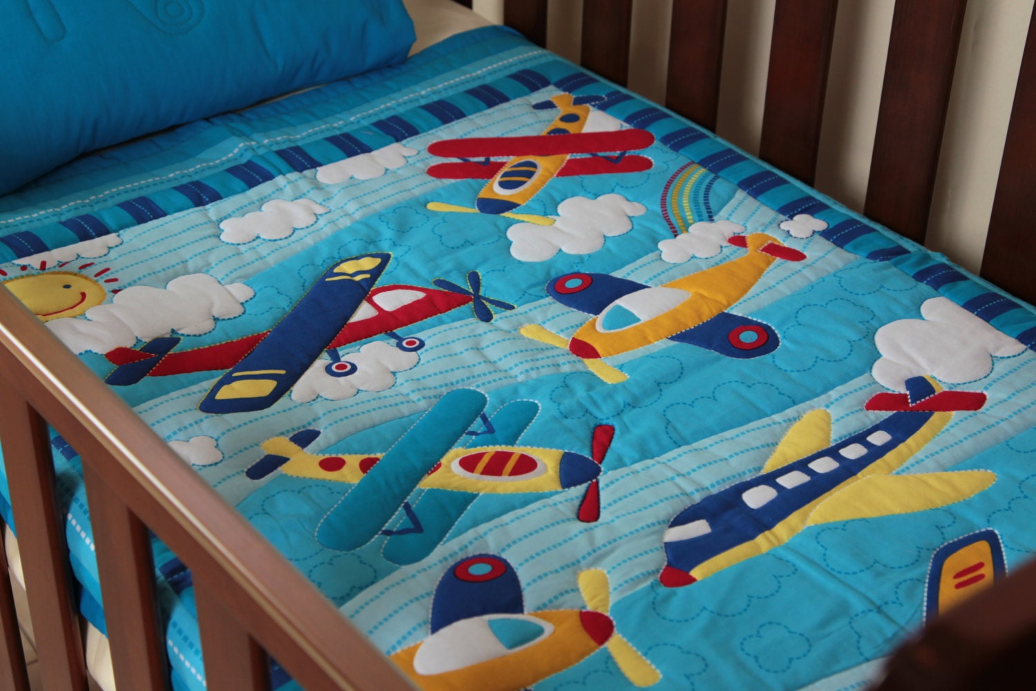 Boys Airoplane Pattern Baby Quilt With By Mumsmagicstitches