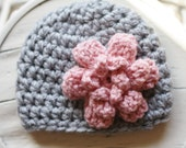 Crochet Girl Hat Chunky Beanie Hat with Flower 0-3 months 3-6 months 6-12 months Gray and Light Pink READY TO SHIP