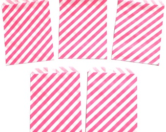 12 Hot Pink Diagonal Stripe Favor Treat Loot Goody Bags Birthday Party Decoration Food Bag