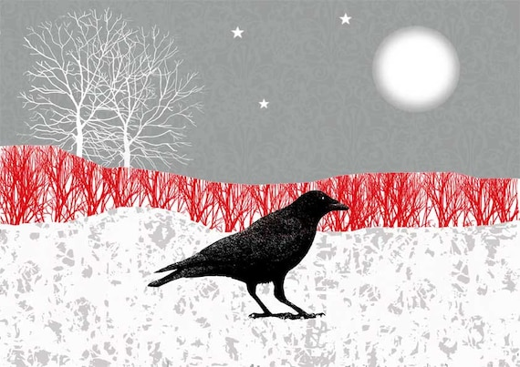 Crow print, moonlight Illustration, Giclee print, mixed media