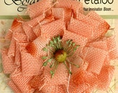 "Apricot  Burlap Flower - large 3.75"" peach fabric flower blossom 1202-204 - for headbands hat flower rustic  flower decoration brooch flower"
