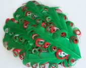 Red Green & White  Feather Pad- Curly Feather Pad -  Holiday Christmas  Feather Pad FP121 - (1 piece)