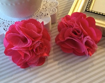 Hot Pink Flowers  Small 2.5'' Fushia  Satin mesh fabric flowers (2 pcs) use for hair flower shoe clip flower headband flowers bridal wedding