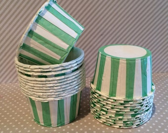 Aqua Mint Green Stripe Candy Cups Nut cups Grease proof  Baking cupcake liners muffin cups Ice cream dessert portion cups - 24 count