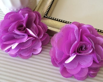 "Large 3"" Lavender satin tulle Fabric flower Orchid Satin mesh flowers choose flat back or with hair clip or brooch pin"