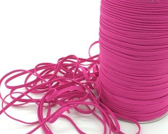 "Hot Pink 1/8"" Skinny Elastic - Azalea Pink 187 FOE skinny Fold Over Elastic FOE 1/8"" inch Baby Headbands  5 or 10 yards Skinny Elastic trim"