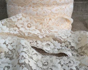 "Ivory Cream Lace Elastic 3"" Lace Stretch Elastic 7.8cm wide Ivory elastic trim baby headband lace elastic garter lingerie 3, 5, OR 10 yards"