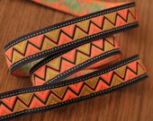Narrow Tribal Woven Jacquard Trim Ribbon Neon Bright Color - 3.4 Yards