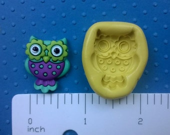 silicone OWL mold  FLEXIBLE mold heat safe food safe mold for fondant cake decorations cupcake toppers polymer clay chocolate plaster