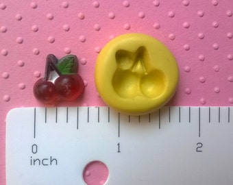 TINY CHERRIES cherry mold flexible silicone mold for fondant resin polymer clay push mold fruit mold