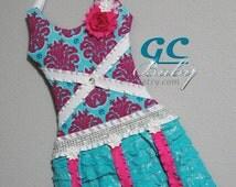 Hair Clip Holder Dress in Hot Pink & Turquoise Damask - Girls Bow Organizer with Fabric Bodice, Ruffle Skirt, Ribbons, Rhinestone Belt