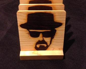 Heisenberg Breaking Bad Coasters -Burned Image -If Desired Mix and Match 4 different designs       See Gomez Carvings Shop and add a note
