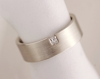Men's diamond wedding band, unique wedding band for him, off centered diamond ring, square diamond wedding band, princess cut diamond ring
