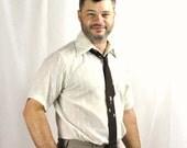 Mens Shirt Cream Textured Retro Short Sleeve Medium Vintage Oxford Off White 15 1/2 Menswear