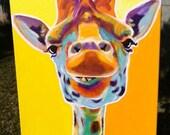 Giraffe, DawgArt, Wildlife Art, Giraffe Art, Giraffe Painting, Zoo Animal, Zoo Animal Art, African Wildlife, Original Painting