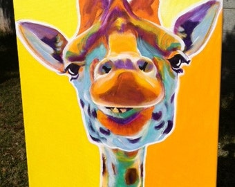 Giraffe, DawgArt, Wildlife Art, Giraffe Art, Giraffe Painting, Zoo Animal, Zoo Animal Art, African Wildlife, Original Painting