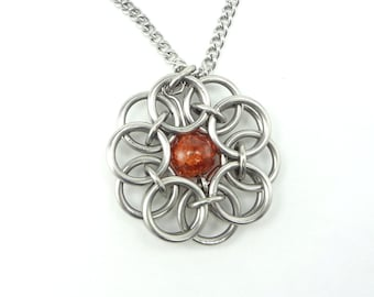 Celtic Knot Necklace Handmade In Chainmaille And Orange Glass Bead
