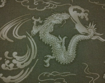 SALE - Dragon, cloud, and water, moss green, fat quarter, pure cotton fabric