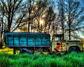 Old Truck Photograph at Sunrise, Color Photography, Chevrolet, Country, Rust, Spring, Trees, HDR Color Photograph, Farm, Art Print