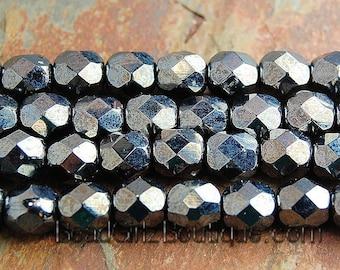 Hematite Czech Glass Faceted 6mm Beads -25