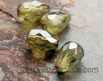 Luminous Green Olive Czech Glass 10x7mm Teardrop Beads -12