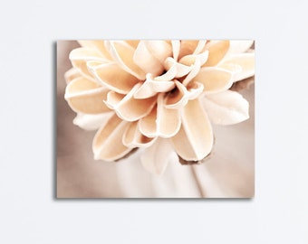 """Cream Flower Canvas, modern pale beige light brown nature gallery wrap white botanical wall art floral photo print, """"Touched by an Angel"""""""