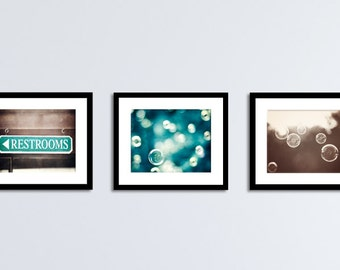 Bathroom Print Set Brown Teal Aqua Turquoise Blue Soap Bubble Photography Set Powder Room Wall