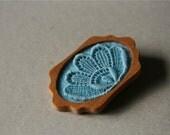 Sky Blue Vintage Lace on Blue Felt Mahogany Wooden Brooch