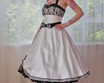 "1950's ""Clara"" White Wedding Dress with a Sweetheart Bodice, Lace Overlay, Tea Length Skirt, Bow Belt and Petticoat - Custom made to fit"