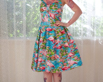 "1950's Rockabilly ""Holly"" Dress with Pink Flamingos, Pleats, Ric Rac trim and Gathered Front - Custom made to fit"