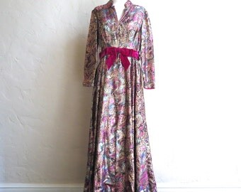 The Opera Singer's Wife- A 70s Glam Metallic Brocade Maxi Dress