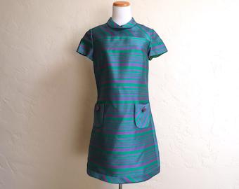 Vintage Mod Go Go Purple & Green Rona NY Dress