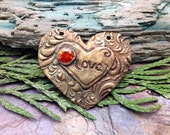 Artisan Bronze Precious Metal Clay Love Conquers All Pendant