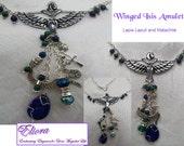 Isis Amulet/ Necklace - Goddess Symbols, Lapis Lazuli and Malachite