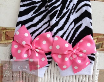 Zebra Leg Warmers -Valentines Day- zebra print with hot pink or red polka dot bows