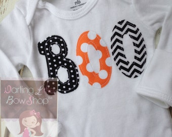 Halloween bodysuit or shirt for girls -  Bodysuit or Shirt for Halloween - My First Boo - orange, black polka dots & chevron