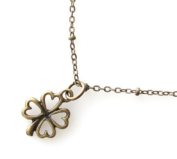 small clover necklace, lucky charm necklace, good luck necklace, four leaf clover, clover jewelry