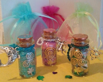 Lucky Charm Bottles, Trio Offer, perfect gift for Celtic Ireland and Unicorn and Dolphin Lovers, Decoration, Miniature Bottle