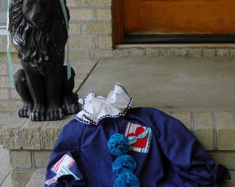 Clown Costume Halloween Boys or Girls OOAK Handmade Size 2t to 4t Navy Blue
