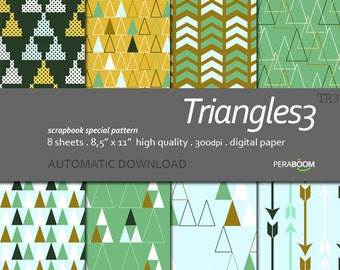 Mustard, green and aqua Modern digital scrapbook paper with geometric patterns, Triangles, Arrows,Aqua blue