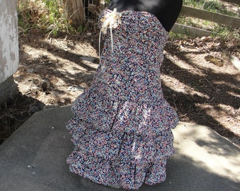 Dress, mori girl, baby doll ruffles sleeveless upcycled