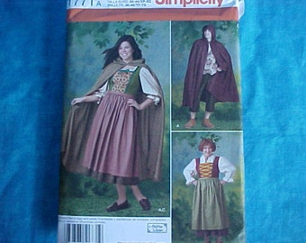 Simplicity 1771 Costume Hooded Cape.Size 8-18 .